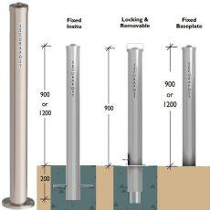 Securapost Stainless Steel 80NB Baseplate Bollards