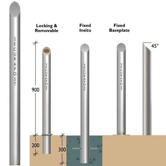 Securapost Regal Stainless Steel 100NB Fixed Bollards