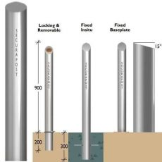 Securapost Regal Stainless Steel 200NB Fixed Bollards