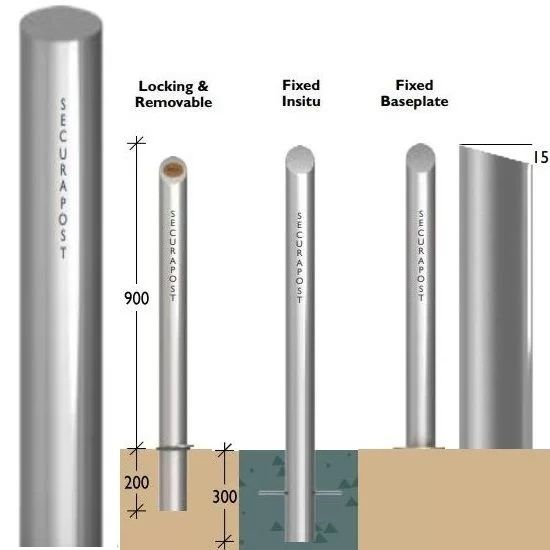 Securapost Regal Stainless Steel 300NB Fixed Bollards
