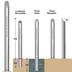 Securapost Regal Stainless Steel 100NB Baseplate Bollards