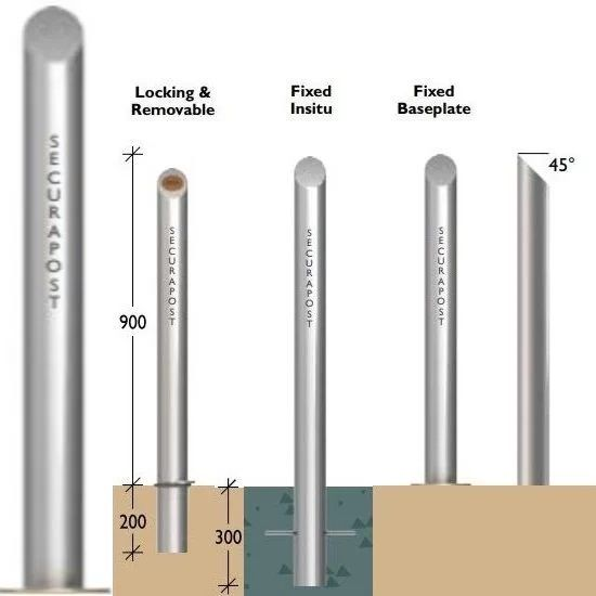 Securapost Regal Stainless Steel 150NB Baseplate Bollards