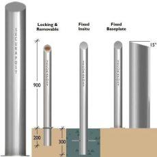 Securapost Regal Stainless Steel 200NB Baseplate Bollards