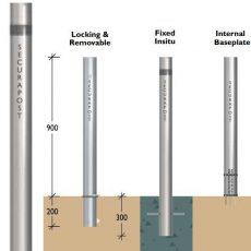 Securapost Slimline Stainless Steel 100NB Fixed Bollards