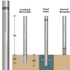 Securapost Slimline Stainless Steel 150NB Fixed Bollards