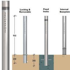 Securapost Slimline Stainless Steel 200NB Fixed Bollards