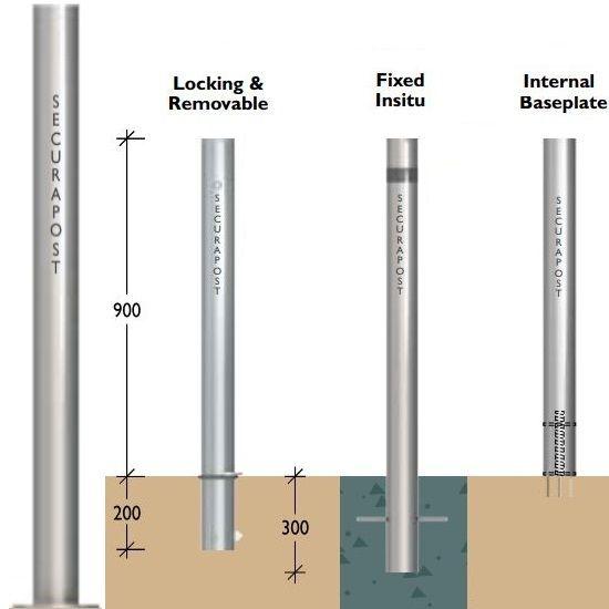 Securapost Slimline Stainless Steel 100NB Baseplate Bollards