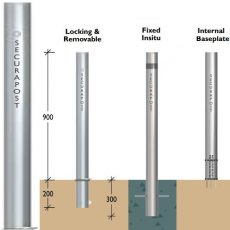 Securapost Slimline Stainless Steel 125NB Removable Bollards