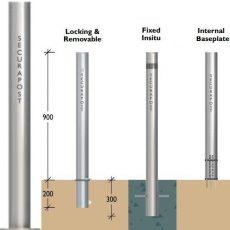 Securapost Slimline Stainless Steel 200NB Baseplate Bollards