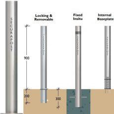 Securapost Slimline Stainless Steel 300NB Baseplate Bollards