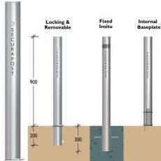 Securapost Slimline Stainless Steel 80NB Removable Bollards