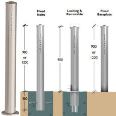 Securapost Stainless Steel 100NB Baseplate Bollards