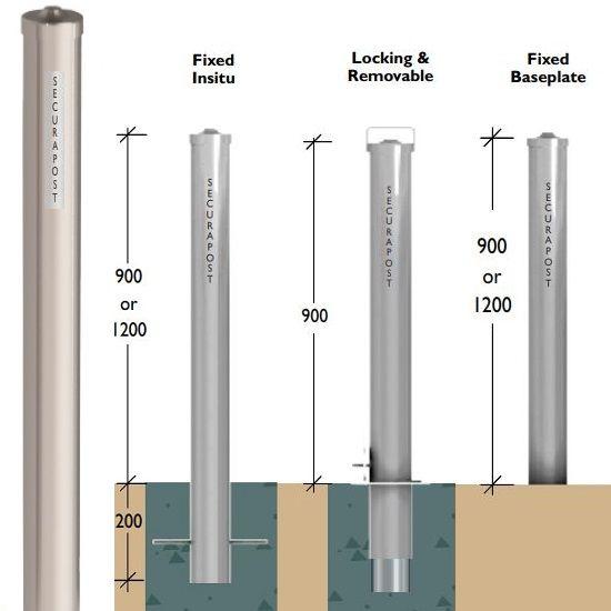 Securapost Stainless Steel 100NB Fixed Insitu Bollards