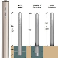 Securapost Stainless Steel 125NB Fixed Insitu Bollards