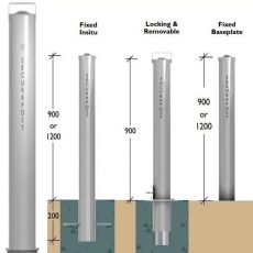 Securapost Stainless Steel 125NB Removable Bollards