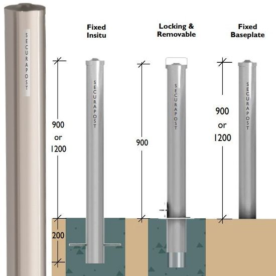 Securapost Stainless Steel 200NB Fixed Insitu Bollards
