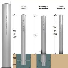 Securapost Stainless Steel 200NB Removable Bollards