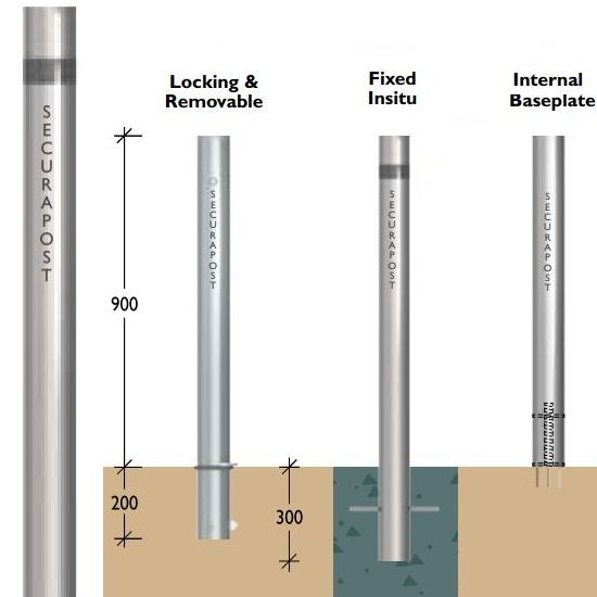 Securapost Stainless Steel 80NB Fixed Bollards