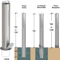 Securapost Stainless Steel 150NB Padlock Removable Bollards